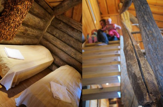 Cottage bedroom and wooden staircase