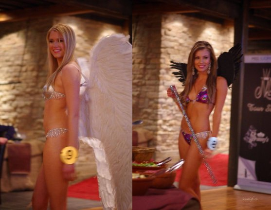 blonde and brunette miss finland candidates with angel wings