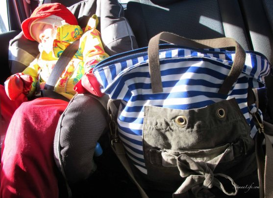toddler sleeping back seat with globe hope bag