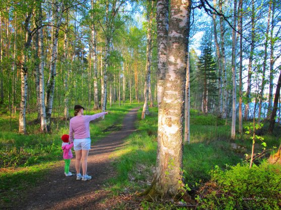 mother-and-daughter-walking-in-forest