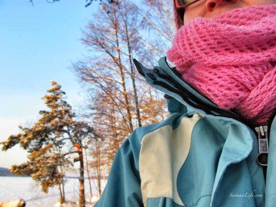 woman in a wintery scene