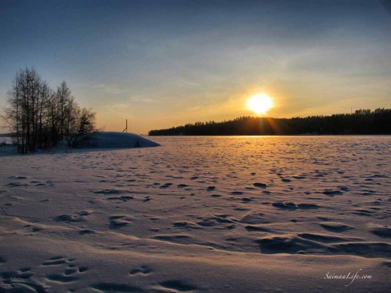 Frozen lake and setting sun in wintertime