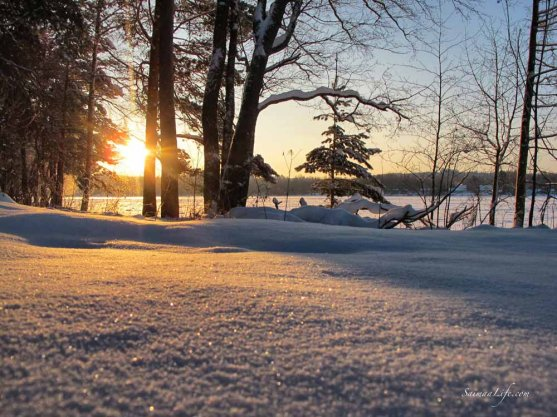 Setting sun on a cold wintery day