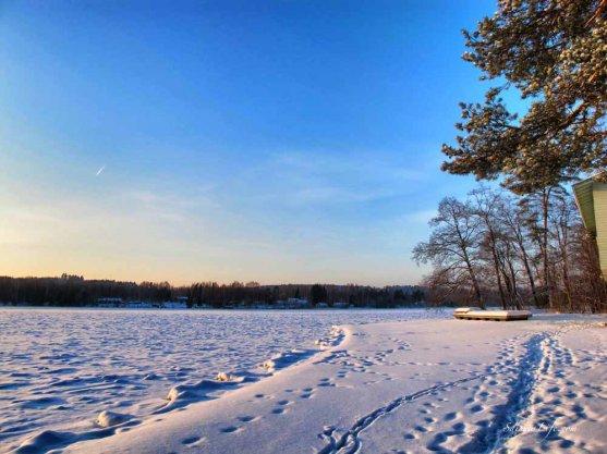 Frozen lake in winter in Finland