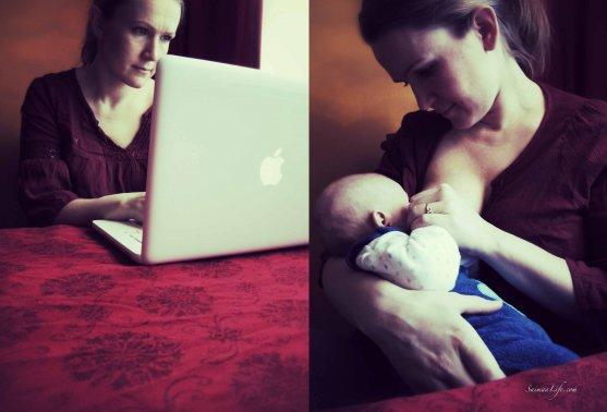mother-working-breastfeeding