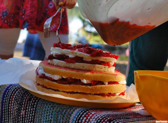 making-strawberrycake-on-island