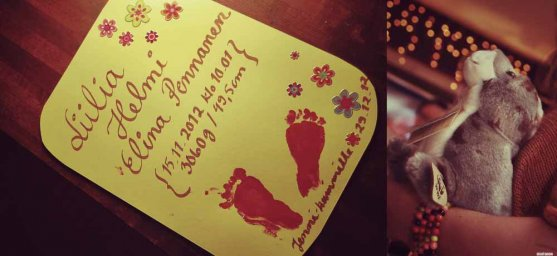 baby girl footprints painted on a card for godparents