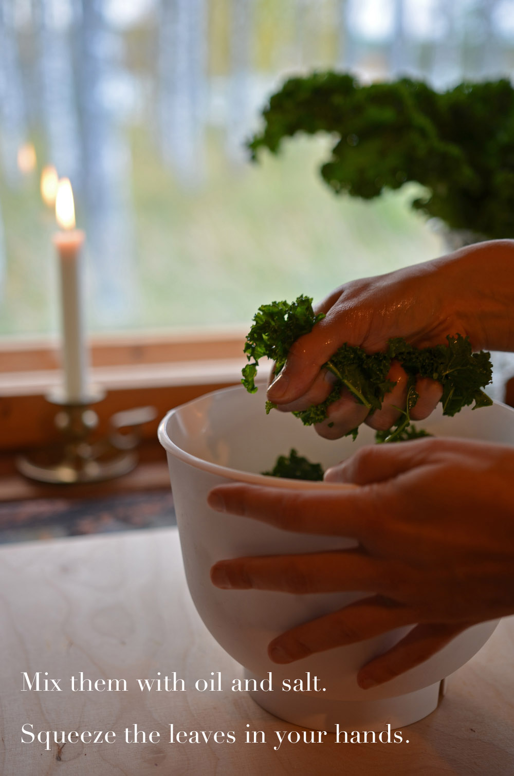 recipe-for-simple-kale-chips-mix-the-leaves-with-oil-and-salt