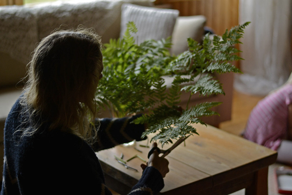 mother-putting-green-leaves-to-living-room-table
