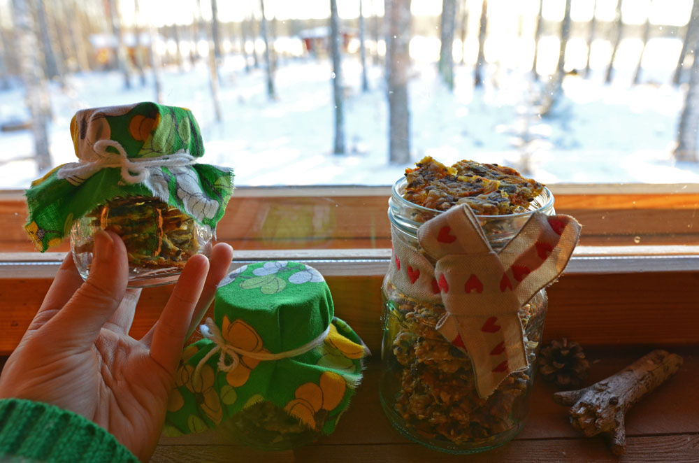 Homemade Seed Crispbread in Decorated Glass Jars