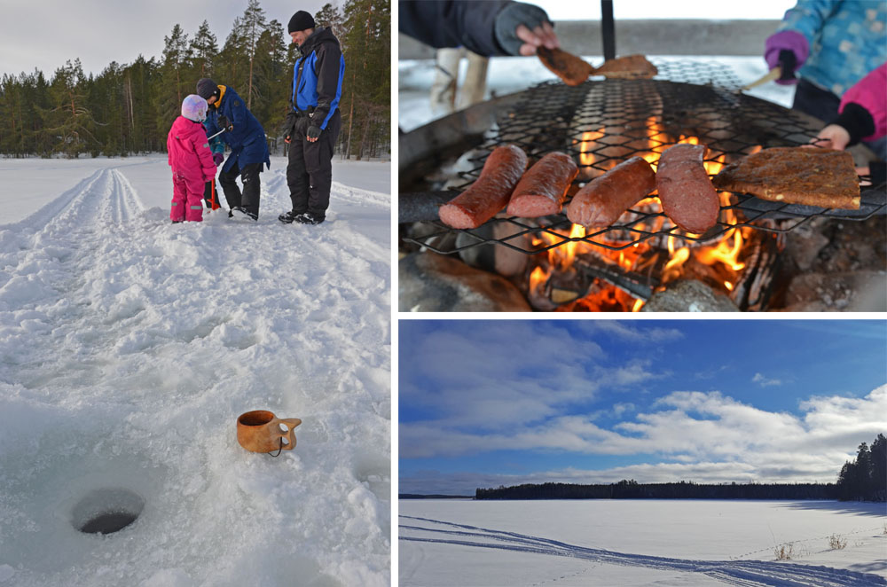 Winter picnic by the frozen lake in Saimaa
