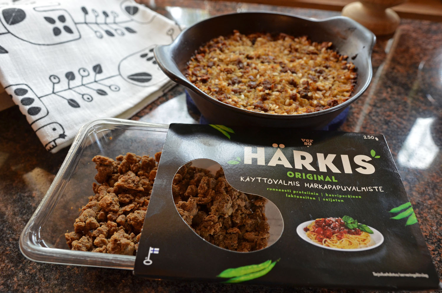 You can use Härkis, a vegan meat substitute, for many dishes instead of minced meat