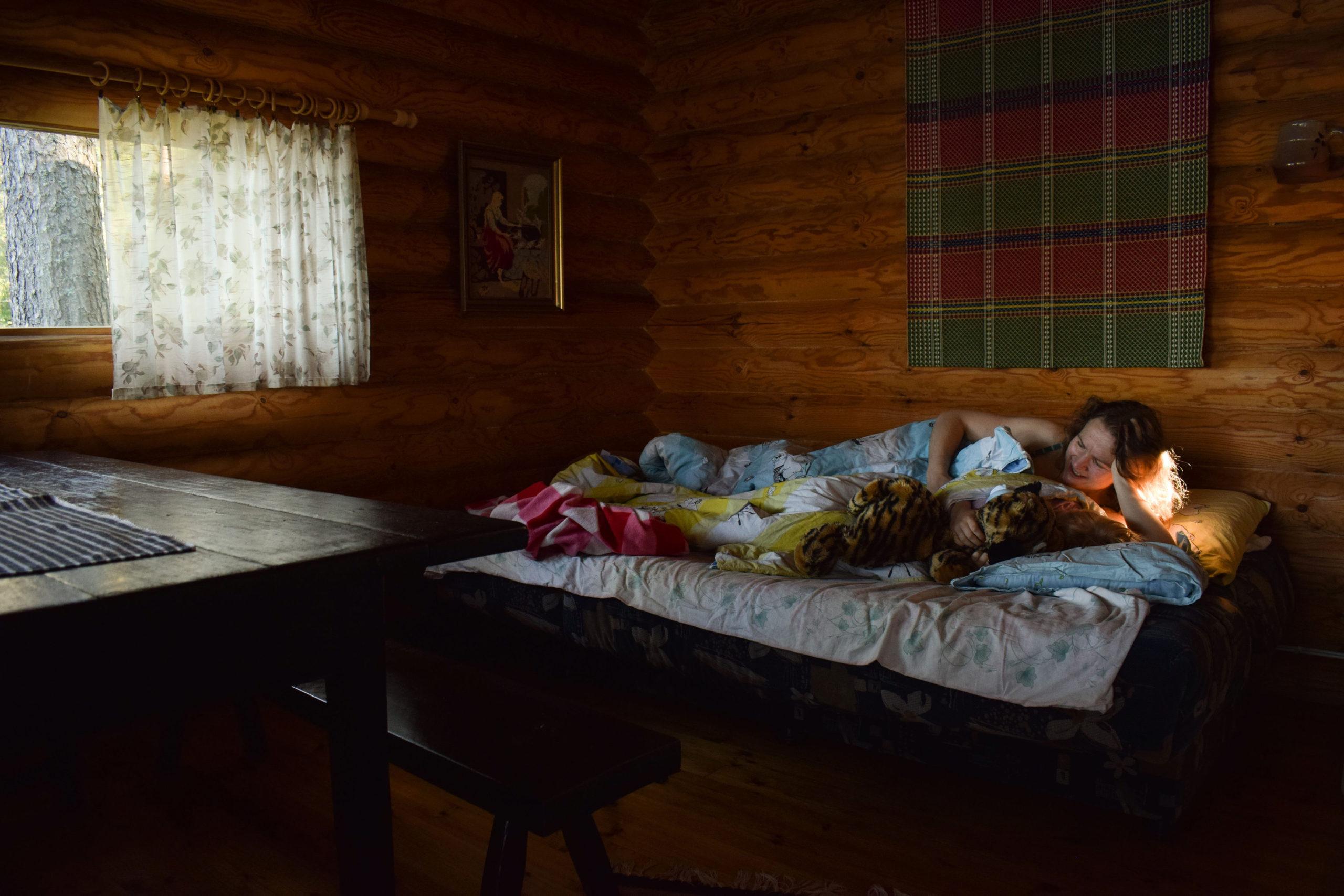 Sleeping at Kukkoniemen Lomamökit traditional Finnish rental cottages in Punkaharju, Saimaa