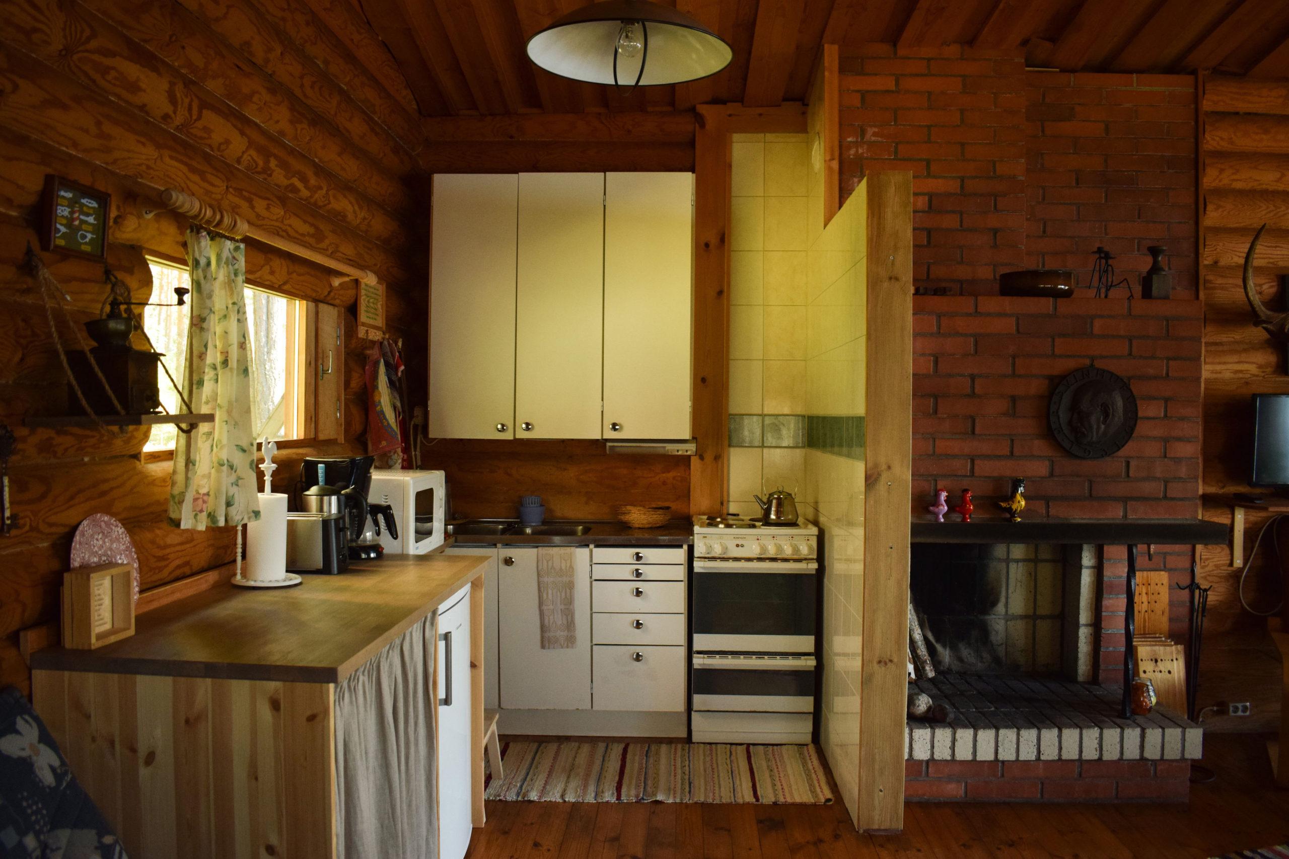 Kitchen of Kukkoniemen Lomamökit traditional Finnish rental cottages in Punkaharju, Saimaa