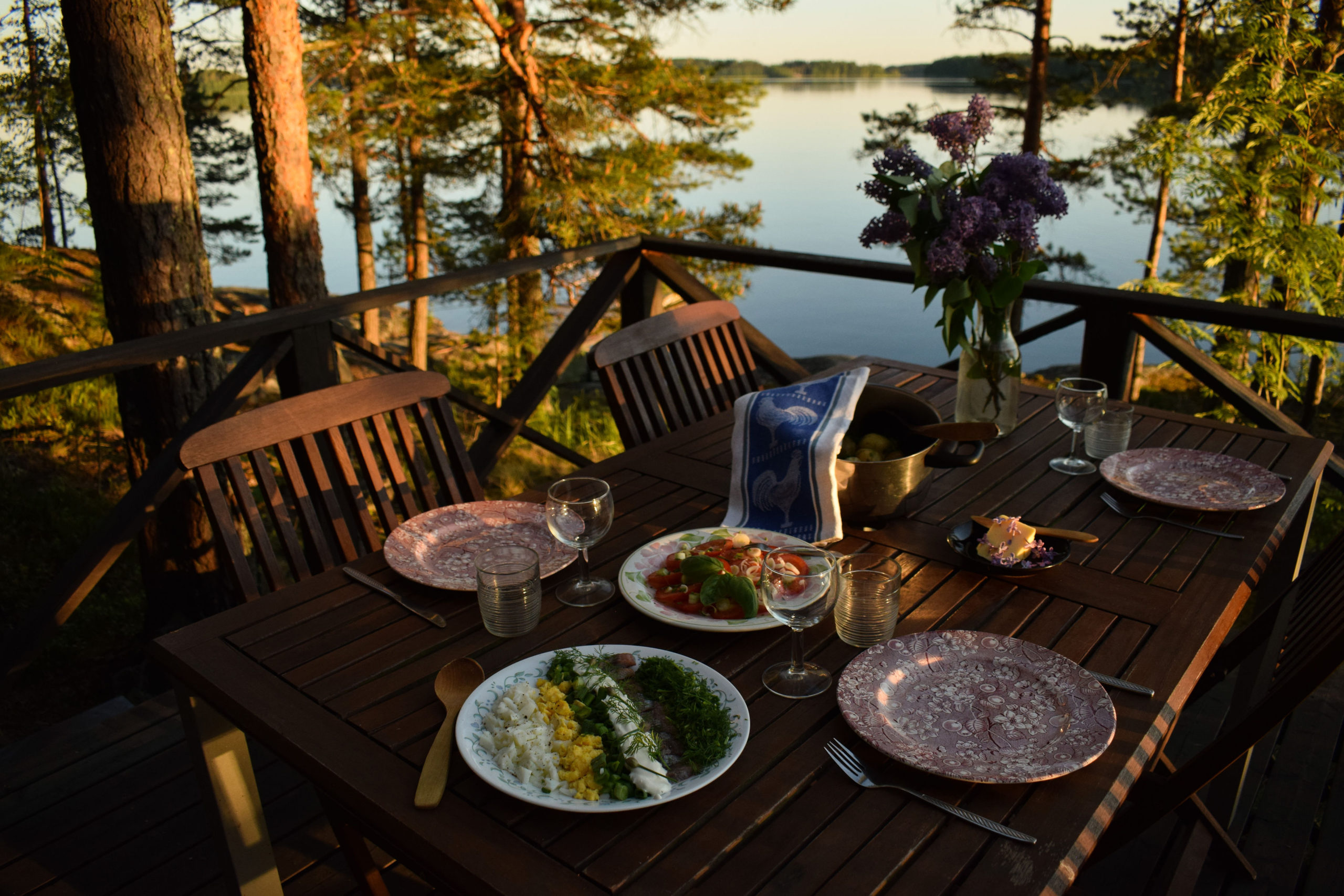 Lakeside terrace view at Kukkoniemen Lomamökit rental cottages in Punkaharju, Saimaa
