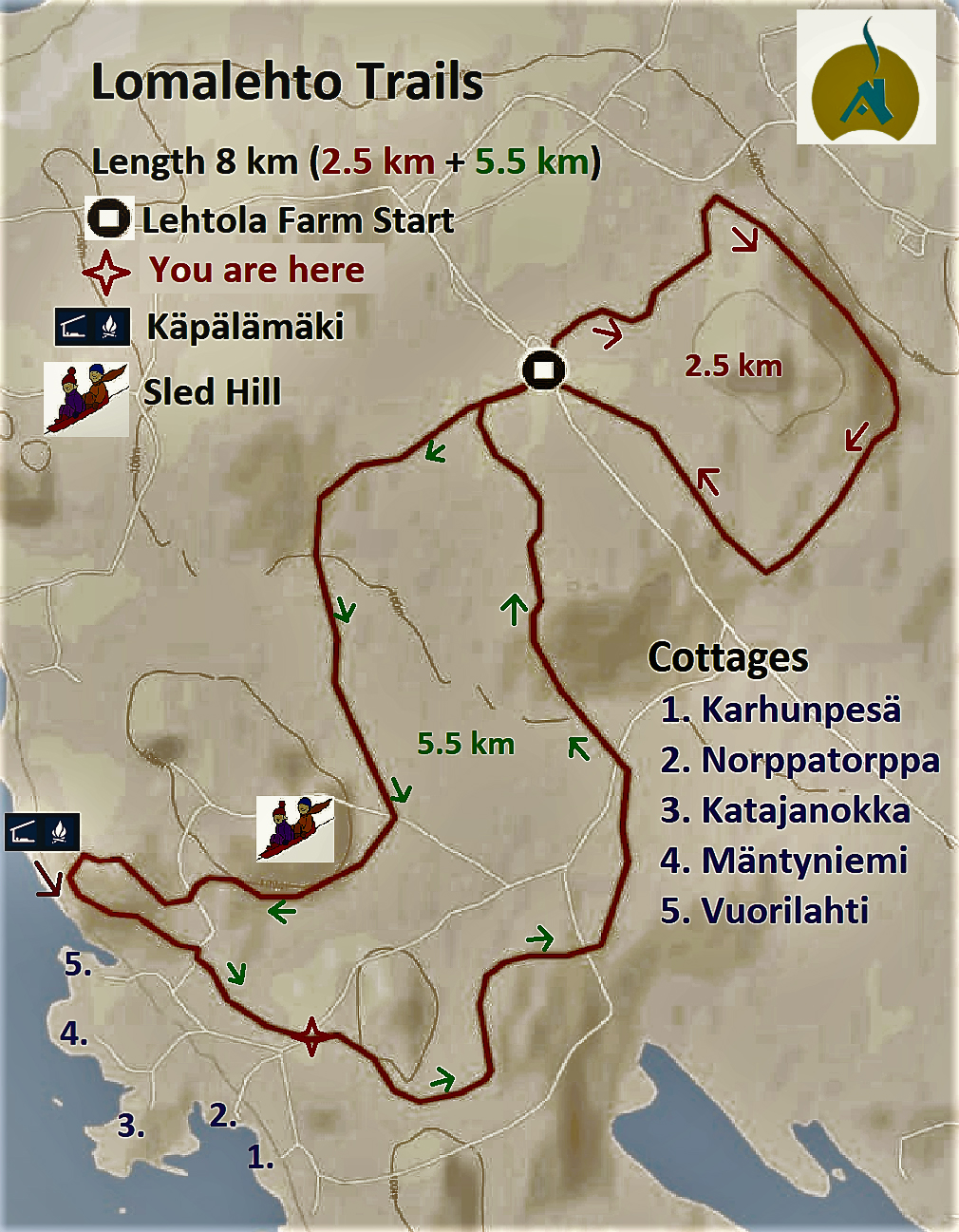 Nature trail map of Lomalehto cottages in Savonlinna