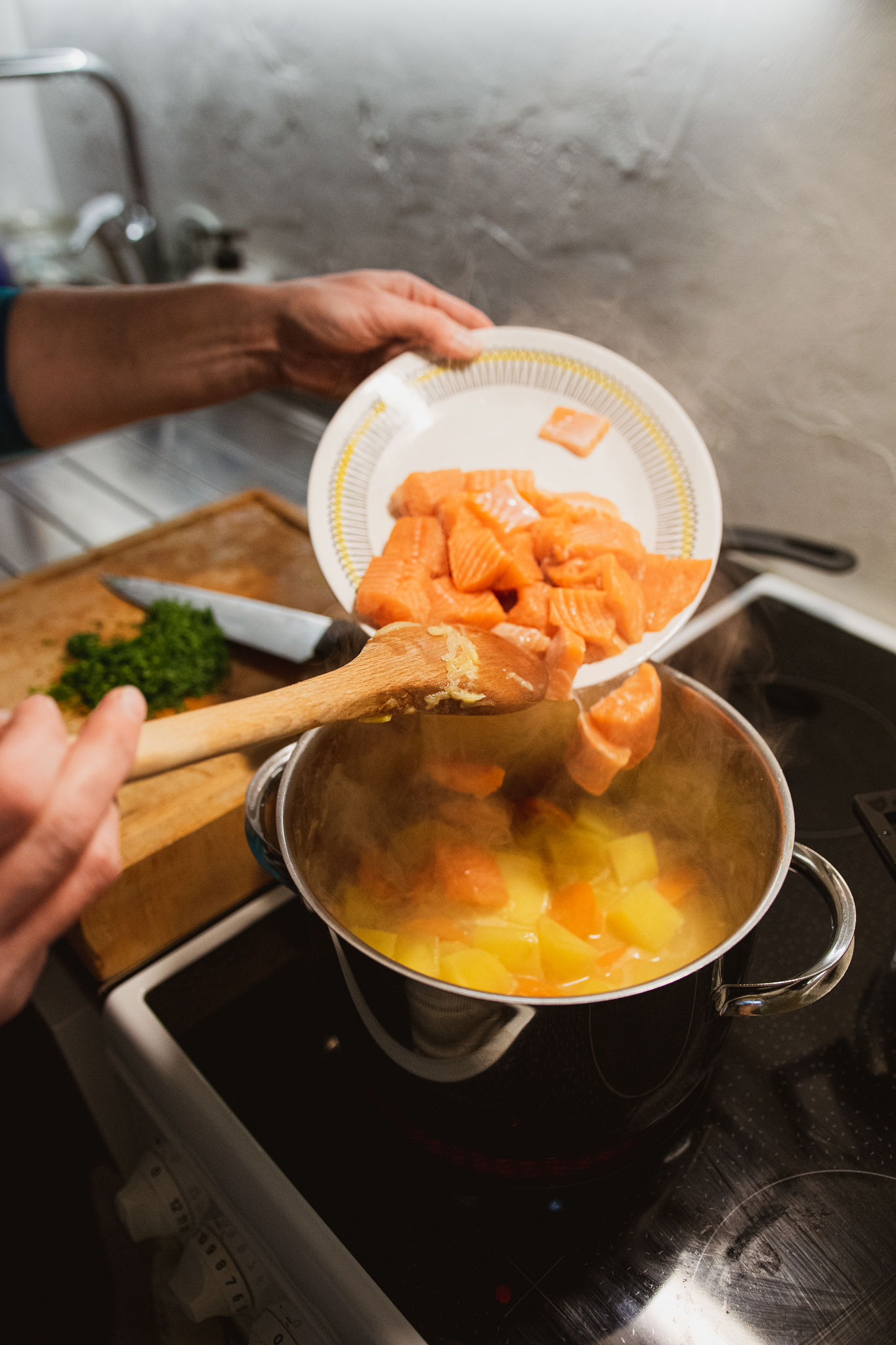 Adding salmon to traditional salmon soup recipe