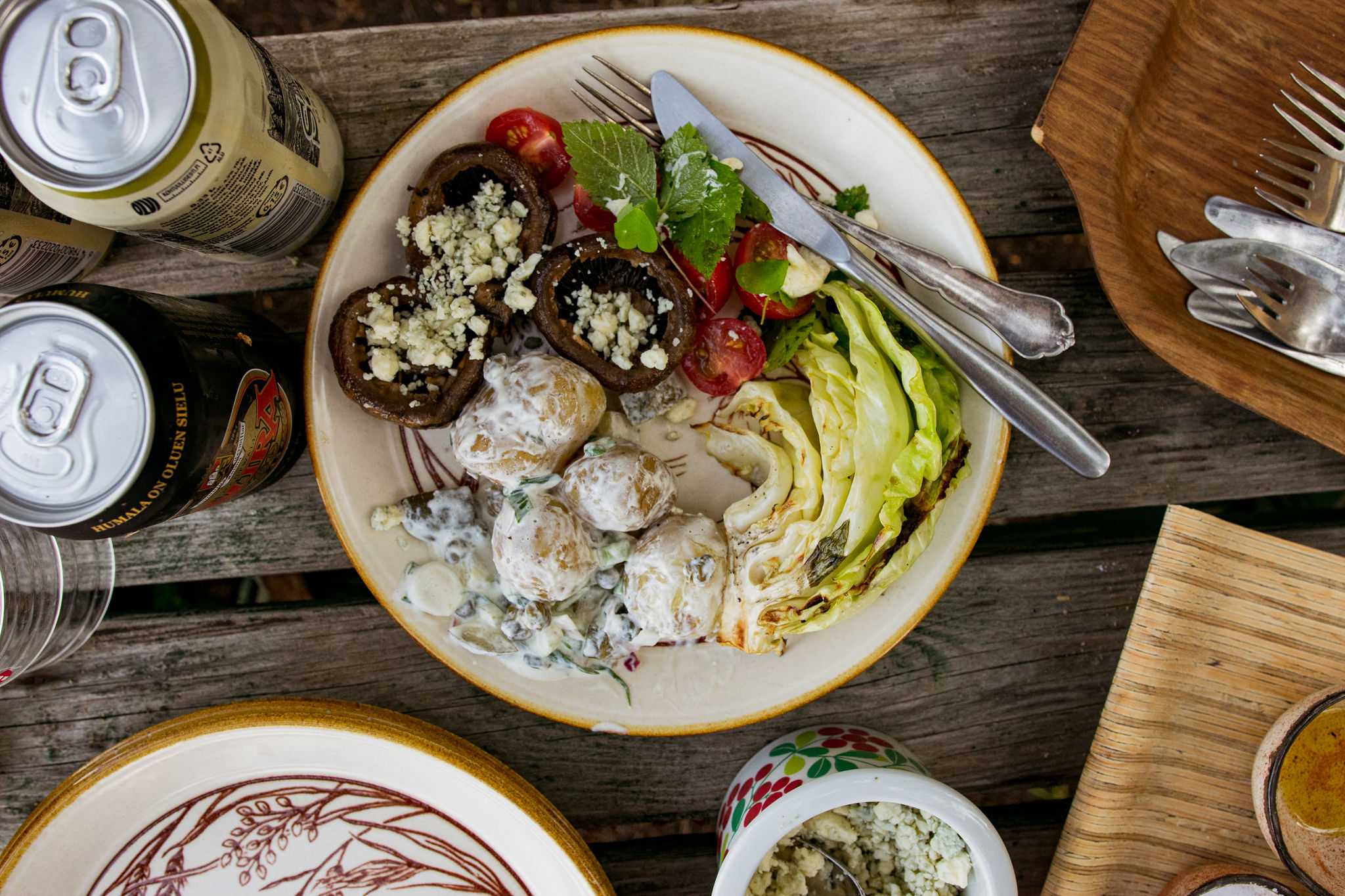 saimaalife grilled mushroom skewers, cabbage and potato salad
