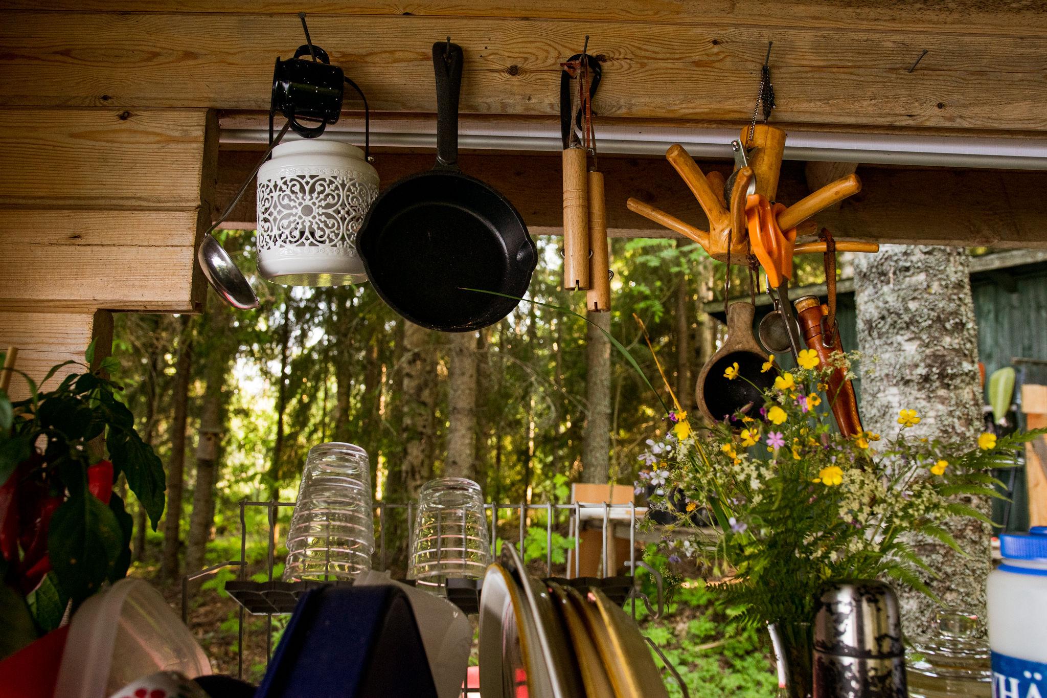 finnish outdoor summer cottage kitchen